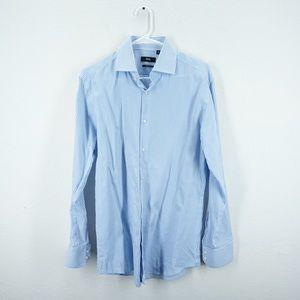 BOSS HUGO BOSS Mens Blue White Striped Dress Shirt